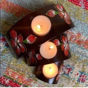 Vintage Accents - Vintage hand painted nesting tea light holder wood